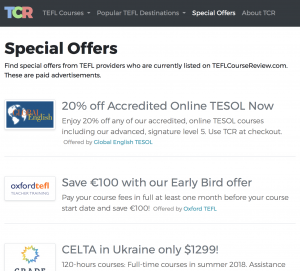 Example of Special Offers page.
